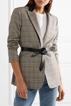 Isabel Marant - Lecce Leather Belt - Black Affiliate ad, thanks for the sugar! Blazer And T Shirt, Plaid Blazer, Checked Blazer, Isabel Marant, Kenneth Jay Lane, Nyc, Blazer Outfits, Fall Outfits, Leather Belts
