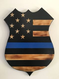 Thin blue line wood police badge cut out Source by etsy Blue Line Police, Thin Blue Line Flag, Thin Blue Lines, Police Shield, Police Police, Wood Badge, Wooden Flag, Wooden Train, Barn Wood Projects