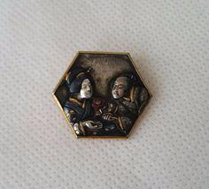 Antique Brooch Lover Couple Pin Japanese Shakudo Gold Silver Metal Meiji Era | eBay