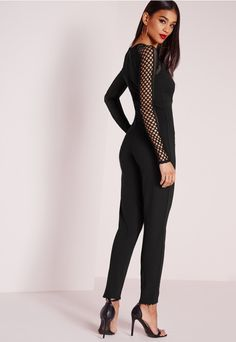Fishnet Mesh Insert Jumpsuit Black - Jumpsuits - Evening Jumpsuits - Missguided