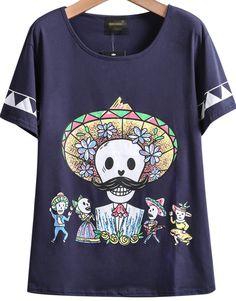 Navy Short Sleeve Zombie Print Loose T-Shirt - Sheinside.com