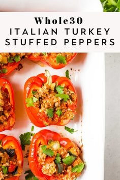 Whole30 Italian Stuffed Peppers -- These stuffed bell peppers are healthy, easy, and flavorful. They are packed with ground turkey, cauliflower rice, and zucchini for the perfect veggie loaded, low-carb meal. Paleo, Keto, and gluten free too! Dairy Free Keto Recipes, Keto Crockpot Recipes, Low Carb Recipes, Cooking Recipes, Healthy Recipes, Gluten Free, Healthy Food, Food Dishes, Main Dishes