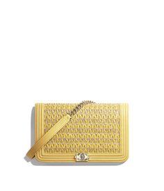 c007aa1d1465 BOY CHANEL Wallet On Chain, lambskin, cotton & gold-tone metal, yellow &  beige - CHANEL