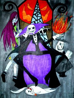 Jack, Sally and Zeromarker card!I used unipen fineliner pigment ink pens for the lineart, Letraset markers to colour and finally uniball white gel pens for highlighting. I keep my Etsy ...