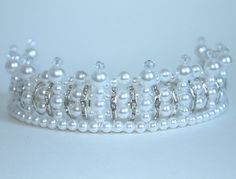 Rhinestone Pearl and Crystal Princess Tiara by CreativeCalling1