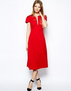 Red Midi Dress with Flare Skirt @ Asos