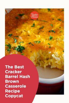 The Best Cracker Barrel Hash Brown Casserole Recipe Copycat Cracker Barrel Hash Brown Casserole Recipe, Copycat, Casserole Recipes, Crackers, Side Dishes, Curry, Ethnic Recipes, Food, Crock Pot Recipes