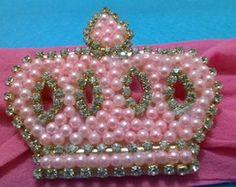 Tiara Coroa de Pérolas Rosa bebe