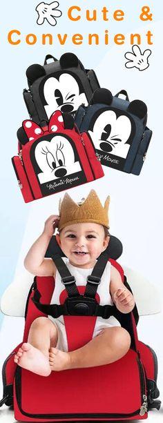 Cute Disney diaper bag that can be used as a high chair.