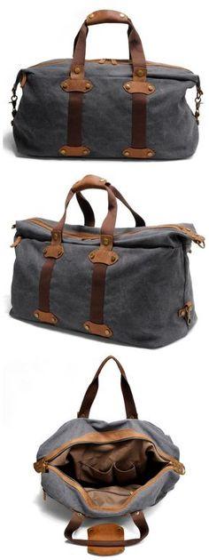 cd97a8da25 Washed Canvas Leather Duffle Bag Overnight Bag Weekender Bag Carryall AF15