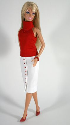 Skirt and top for Barbie by ChicBarbieDesigns on Etsy, $19.99