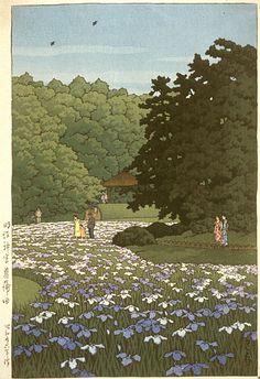 """""""Iris Field at Meiji Shrine"""" 1951 by Kawase Hasui"""