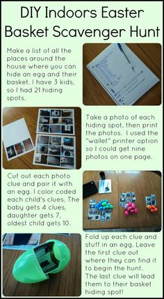 DIY Indoor Easter Basket Scavenger Hunt for preschoolers or non-readers with photo clues.