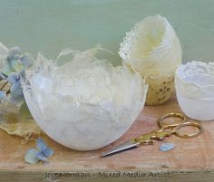 www.joynorman.co.uk. Delicate hand made paper vessels with vintage/antique lace inclusions. Antique Lace, Mixed Media Artists, How To Make Paper, Norman, Vintage Antiques, Im Not Perfect, Candle Holders, Delicate, Joy