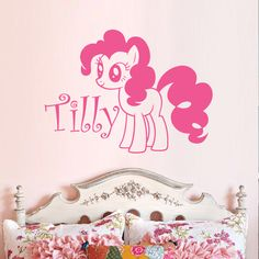 My Little Pony Fluttershy Vinyl Wall Decal by RobotAndRubyDesigns, Name Wall Decals, Vinyl Wall Decals, Little Girl Rooms, My Little Girl, Ballet Room, My Little Pony Party, Baby Girl Names, Fluttershy, Wall Art Designs