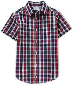 a56c8b5eda9 Class Club Big Boys 8-20 Checked Short-Sleeve Woven Shirt  collar point  short