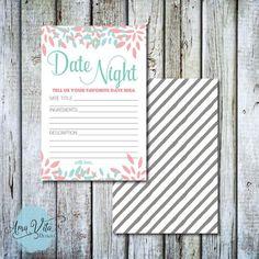INSTANT DOWNLOAD - Modern Dahlia Date Night Idea Card for Shower DIY #party #printable #diy #bridalshower #datenight