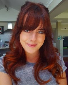 auburn+and+copper+balayage+hair+with+bangs