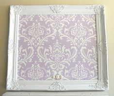 Purple Nursery Decor MAGNET BOARD White Picture Frame Damask