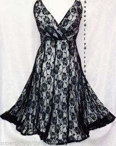 22W Womens Sexy Black White Lace Surplice Plus Size Dress Empire Waist Glamour | eBay