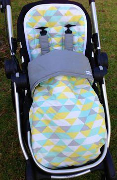 Pram/Stroller Sleeping Bag/Foot Muff Mint Geometric