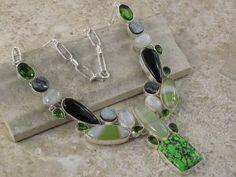 Multi Gemstone Green Turquoise Agate Moonstone Onyx Druzy necklace jewelrygemstone.ecrater.com