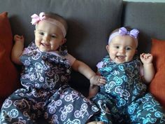 A friend shared this lovely photo today. Her twin daughters in matching bicycle print overalls. One pink. One blue. Seriously...HOW CUTE?! Gahhh! My ovaries have melted. ; ) Thanks again Victoria for sharing. It put a serious smile on my face and I hope everyone enjoys them. : )