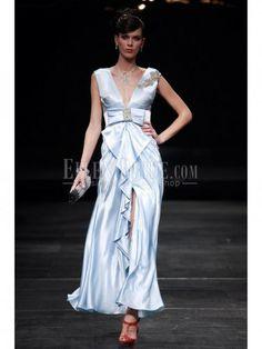 Sheath/Column V-neck Ankle-length Stretch Satin Luxury Evening Dresses