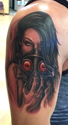 Girl With Gas Mask Tattoo On Half Sleeve