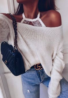 ootd | white off shoukder sweater + bag + jeans