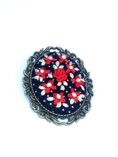 Red and Ivory Flower Bouquet Embroidered Brooch, Fabric Brooch, Romantic Jewelry by RedWorkStitches on Etsy