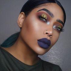 Dark Purple Lips Silver Highlight Gold Cut Crease Makeup Slay Artist on Beautiful Makeup Photos 5222 Cute Makeup, Makeup On Fleek, Gorgeous Makeup, Makeup Looks, Simple Makeup, Edgy Makeup, Creative Makeup, Pretty Makeup, Black Girl Makeup