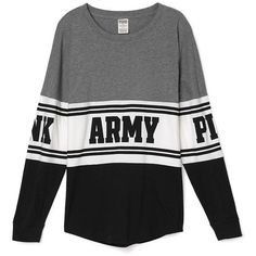 PINK ARMY Varsity Crew ($65) ❤ liked on Polyvore featuring tops, shirts, sweaters, sweatshirts, long sleeves, print, shirts & tops, army print shirt, graphic shirts and graphic tops