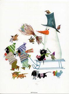 sneeuwpop, slee e. Winter Illustration, Children's Book Illustration, Graphic Design Illustration, Watercolor Illustration, Christmas Books For Kids, Christmas Art, Winter Christmas, Dachshund, Naive Art