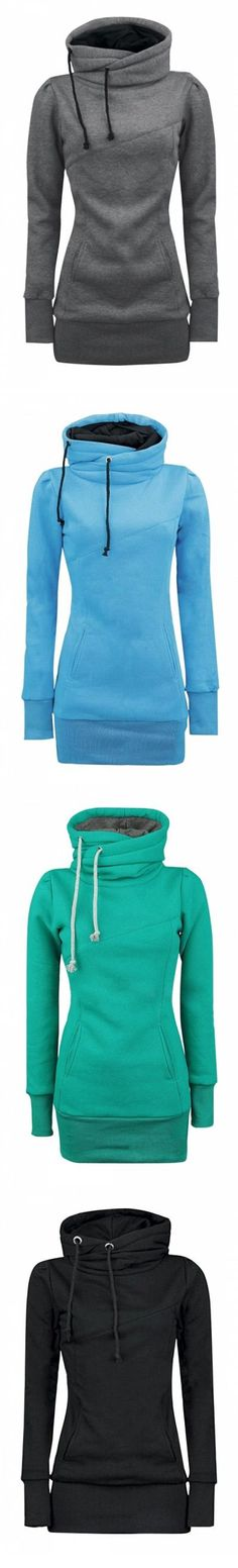 Free shipping Women's Solid Turtle Neck Long Sleeve Kangaroo Pocket Sweatshirt