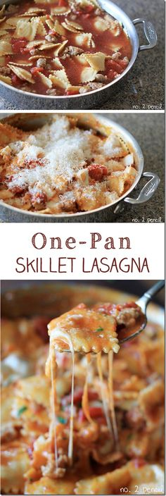 Skillet Lasagna Easy One Pan Meal ~ If lasagna is one of those dishes always loved by your family, then you just need to have this recipe on hand.