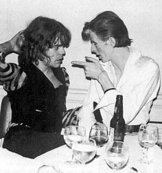 David Bowie and Mick Jagger (I feel like that looks more like David Johansson but idk if he would be wearing that? So hopefully it's actually Mick Jagger)