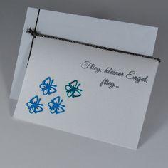 """Trauerkarte für ein verstorbenes Kind """"Schmetterlinge"""" in blau - für Kinder - Trauer- und Kondolenzkarten - Cardlove.de"""