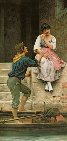 The Fishermans Wooing from the Pears Annual Christmas - Eugene de Blaas