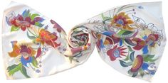 Silk scarf in folk art style with floral motifs on by SilkMood