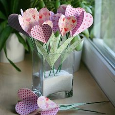 "Create this pretty bouquet of heart ""flowers"" to pep up your window sill. A lovely decoration for Valentine's Day or even for Mother's Day."