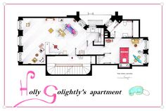 """. This is the floorplan of Holly Golightly's apartment form """"Breakfast at Tiffany's"""". . Almost an empty house, with a few furnitures and all the space for the parties... I included some iconic elements. . It's an original hand drawed plan, in scale, coloured with colour pens and with full details of furniture and complements ... . If you want to buy an original drawing, especially handmade for you, contact me at ializar@hotmail.com or visit my ETSY store"""