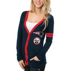 New England Patriots Ladies Slub Button-Up Long Sleeve Cardigan - Navy Blue