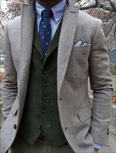 Men's Grey Wool Blazer, Dark Green Waistcoat, Blue Plaid Long Sleeve Shirt, Dark Green Chinos