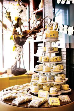 Yellow & Gray Owl Themed Twin Baby Shower