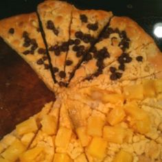 Dessert pizza made like pizza inn. Super easy and soooooo good! 1/2 yellow cake mix, 1 stick butter, Thin pizza crust and topping of choice. Enjoy!!