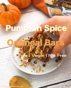 Pumpkin Oatmeal Breakfast Bars - - These easy Pumpkin Oatmeal Breakfast Bars are soft baked, chewy and packed with fall flavors. This pumpkin recipe makes the best healthy breakfast or snacks. They are gluten free, vegan and nut free. Pumpkin Oatmeal, Vegan Pumpkin, Pumpkin Spice, Pumpkin Pumpkin, Oatmeal Breakfast Bars, Oatmeal Bars, Easy Vegan Breakfast, Breakfast Crepes, Pumpkin Breakfast