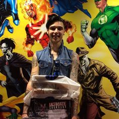 """ Before the #BVB4 listening party yesterday, we hung out with @andybvb at the #DCcomics HQ! Check out all that swag! And head to AltPress.com, to watch #BVB's fan Q&A from the listening party! "" - @altpress"