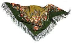 Russisches Tuch MASHA in grün - Fransentuch, Blumentuch aus 100% Wolle, Trachtentuch, russischer Schal / Stola - 100% Original, edel und hochwertig: Amazon.de: Bekleidung