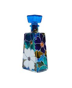 Blue Meadow Hand Painted Glass Bottle  by SylwiaGlassArt on Etsy, $130.00